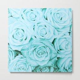 Turquoise roses - flower pattern - Vintage rose Metal Print
