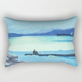 Romantic scene Conversation on the log Rectangular Pillow