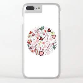 Circle composition of Valentine's Day theme doodle elements. Clear iPhone Case