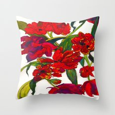 Inky Tulips Throw Pillow