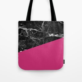 Black Marble and Pink Yarrow Color Tote Bag