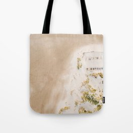 Coastal Drone photography print of the beach and some boats | Wanderlust aerial photography art Tote Bag