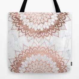 Modern chic rose gold floral mandala illustration on trendy white marble Tote Bag