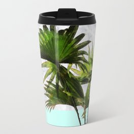 Palm Plant on Marble and Pastel Blue Wall Travel Mug