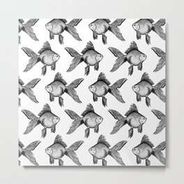 Black Goldfish Pattern Metal Print