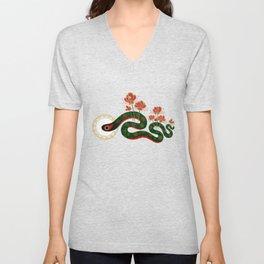 Snake and flowers Unisex V-Neck