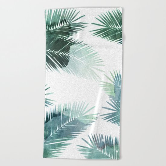 Watercolor Leafs 2 Beach Towel