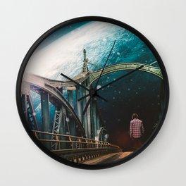 Crossing The Bridge Wall Clock