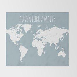 Adventure Awaits World Map in Slate Blue Throw Blanket