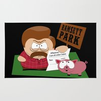 parks and rec Area & Throw Rugs featuring South Parks and Rec by JVZ Designs