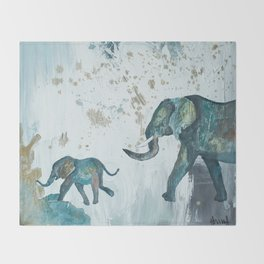 Follow me baby elephant Throw Blanket
