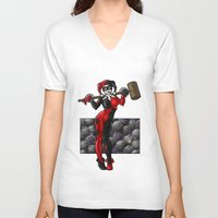 harley quinn V-neck T-shirts featuring Harley Quinn by Tash O'Toole