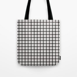 Foundry Black on Nude Grid Tote Bag