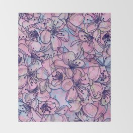 Over and Over Flowers 2 Throw Blanket