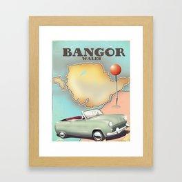 Bangor Wales vintage travel poster Framed Art Print