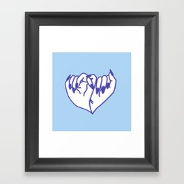 Best Friend Galentine's Day Pinky Promise in Solo Blue Framed Art Print