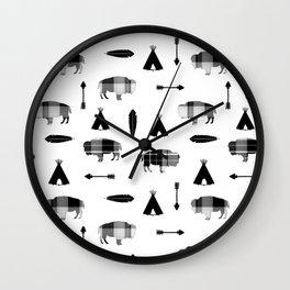 Buffalo Tribal Wall Clock