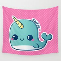 narwhal Wall Tapestries featuring Kawaii Blue Narwhal by Katie White