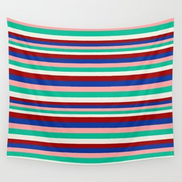 Colored Stripes - Dark Red Blue Rose Teal Cream Wall Tapestry