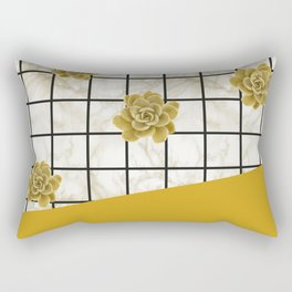 Succulents geometric composition - Yellow Lemon Curry Rectangular Pillow