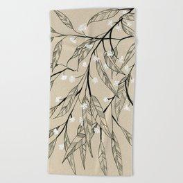 Line Drawing Leaves #3 Beach Towel