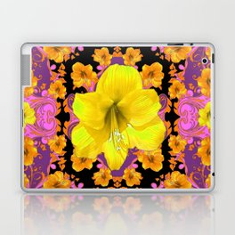 TROPICAL YELLOW & GOLD AMARYLLIS FLOWERS PATTERN ON Laptop & iPad Skin