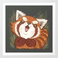 red panda Art Prints featuring Panda by Toru Sanogawa