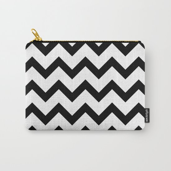 Simple Black and white Chevron pattern Carry-All Pouch