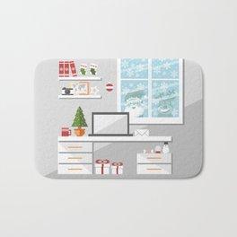 Christmastime office interior Bath Mat