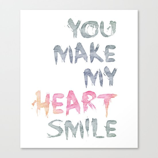 You make my heart smile ink lettering Canvas Print