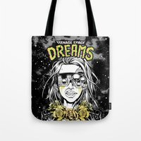 cyberpunk Tote Bags featuring TEENAGE SPACE DREAMS by Lokhaan