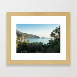 Agios Gordios beach at Sunset, Corfu island, Greece Framed Art Print