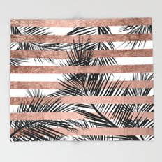 Trendy tropical palm trees chic rose gold stripes Throw Blanket