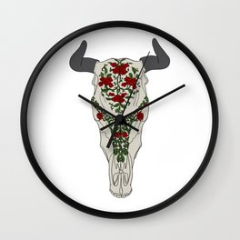 Cow skull with floral ornament Wall Clock