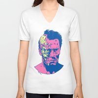 terminator V-neck T-shirts featuring Terminator (neon) by Liam Brazier