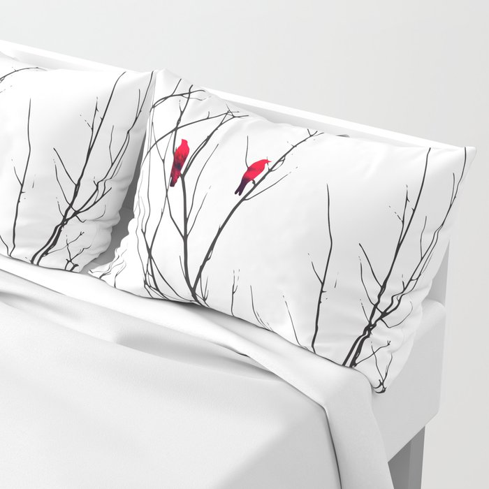 Artistic Bright Red Birds on Tree Branches Pillow Sham