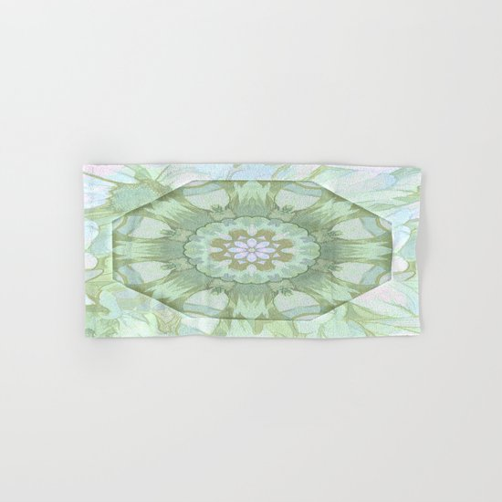 Soft Green Floral Kaleidoscope Hand & Bath Towel