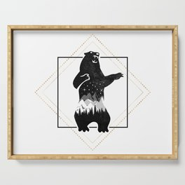 Bear Geometric Black Gold Wild Animals Serving Tray