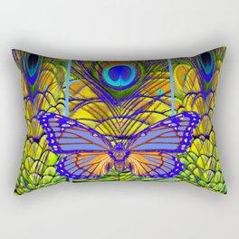 FANTASY PURPLE MONARCH BUTTERFLY PEACOCK FEATHER ART Rectangular Pillow