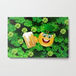 St. Patrick Day Emoticon Metal Print