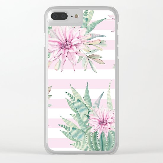 Simply Striped Cactus Desert Rose Pink Clear iPhone Case