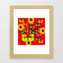 CHINESE RED YELLOW SUNFLOWERS &  BUTTERFLIES ART Framed Art Print