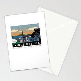Kings Bay, GA - Retro Submarine Travel Poster Stationery Cards