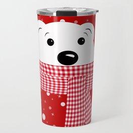 Muzzle of a polar bear on a red background. Travel Mug