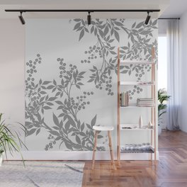 LEAF TOILE GRAY AND WHITE PATTERN Wall Mural