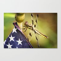 patriotic Canvas Prints featuring Patriotic Dragonfly by Kimberley Britt