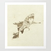 suit Art Prints featuring fish suit by whiners_