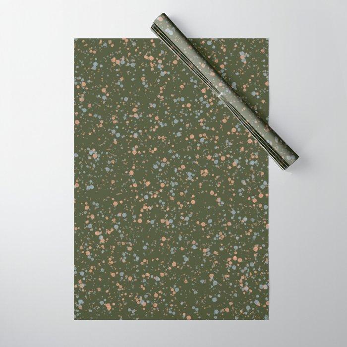 Green Peach + Blue Splatter Print Wrapping Paper