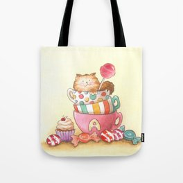 Cups, candy and a cat Tote Bag