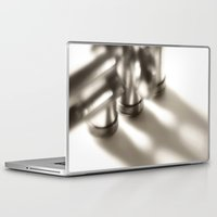 trumpet Laptop & iPad Skins featuring trumpet by laika in cosmos